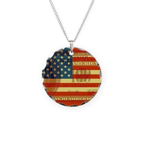Flag with Hundred Dollar Bill Necklace Circle Char