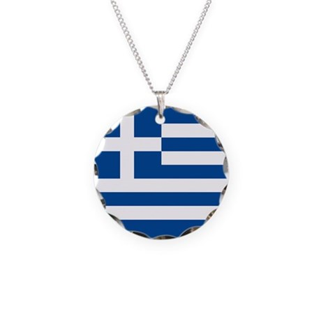 Greek Flag Necklace Circle Charm