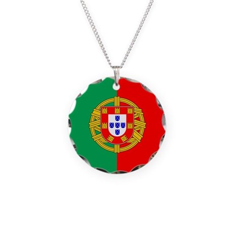 Portuguese, Flag of Portugal Necklace Circle Charm