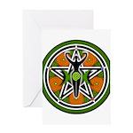 Green Goddess Pentacle Greeting Card