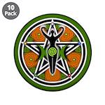 """Green Goddess Pentacle 3.5"""" Button (10 pack)"""