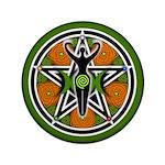 """Green Goddess Pentacle 3.5"""" Button"""