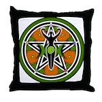 Green Goddess Pentacle Throw Pillow