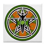 Green Goddess Pentacle Tile Coaster