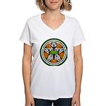 Green Goddess Pentacle Women's V-Neck T-Shirt