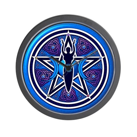 Blue-Purple Goddess Pentacle Wall Clock