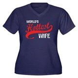 World's Hottest Wife Women's Plus Size V-Neck Dark