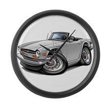 Triumph TR6 White Car Large Wall Clock
