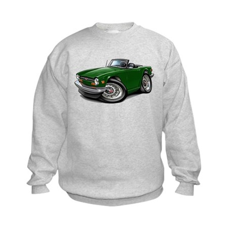 Triumph TR6 Green Car Kids Sweatshirt