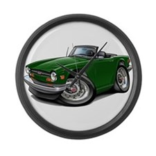Triumph TR6 Green Car Large Wall Clock