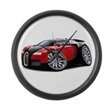 Veyron Black-Red Car Large Wall Clock