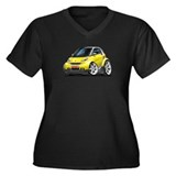 Smart Yellow Car Women's Plus Size V-Neck Dark T-S