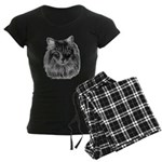 Long-Haired Gray Cat Women's Dark Pajamas