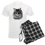 Long-Haired Gray Cat Men's Light Pajamas
