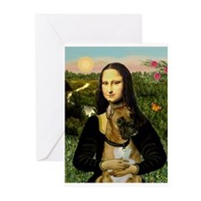 Mona & her Boxer (#3) Greeting Cards (Pk of 10