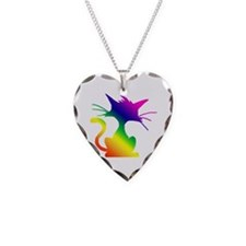 Cat Necklace Heart Charm
