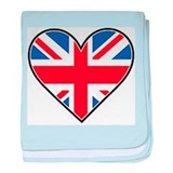 Union Jack Heart Flag baby blanket