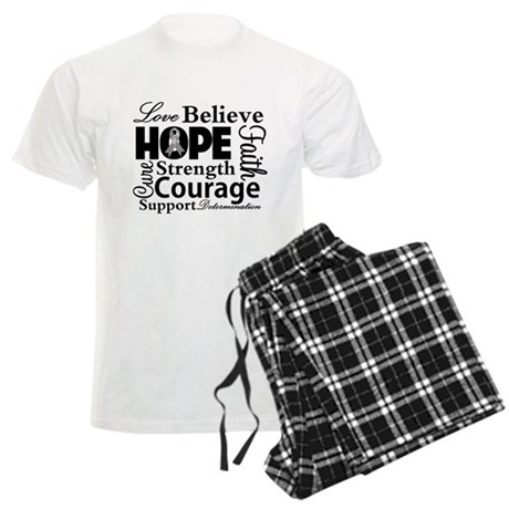 Brain Cancer Hope Collage Men's Light Pajamas