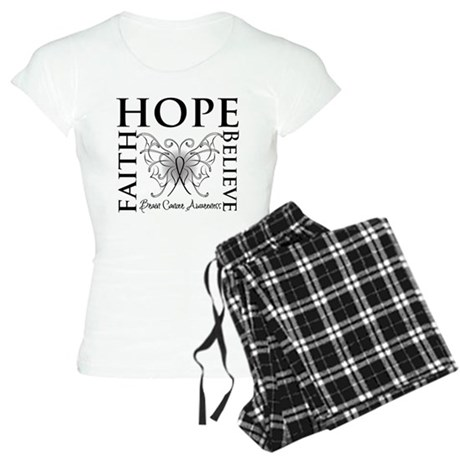 Brain Cancer Faith Believe Women's Light Pajamas