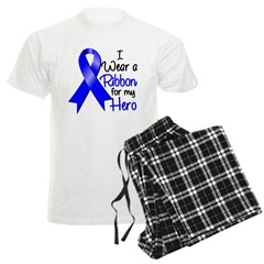 Colon Cancer Ribbon Hero Men's Light Pajamas