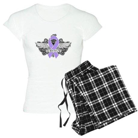 Cancer Survivor Grunge Wings Women's Light Pajamas