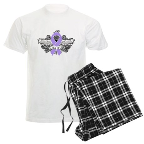 Cancer Survivor Grunge Wings Men's Light Pajamas