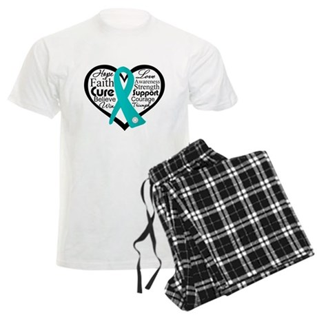 Heart Ovarian Cancer Men's Light Pajamas