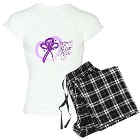 Heart Pancreatic Cancer Women's Light Pajamas