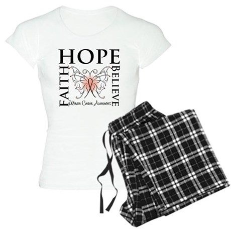 Hope Believe Uterine Cancer Women's Light Pajamas