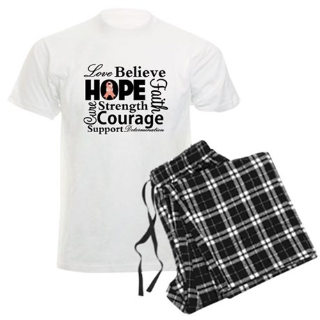 Uterine Cancer Hope Collage Men's Light Pajamas