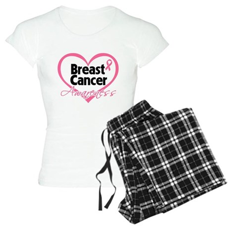 Breast Cancer Awareness Heart Women's Light Pajama