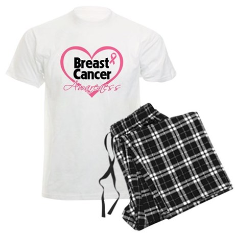 Breast Cancer Awareness Heart Men's Light Pajamas