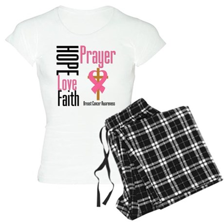 Breast Cancer Prayer Ribbon Women's Light Pajamas