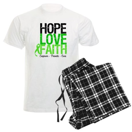 Lymphoma Hope Love Faith Men's Light Pajamas