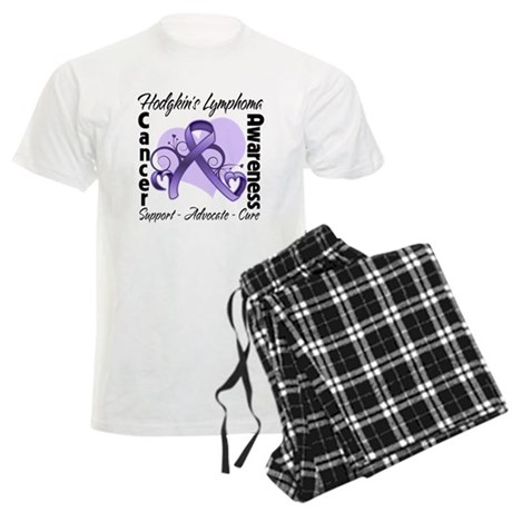 Ribbon Hodgkins Lymphoma Men's Light Pajamas
