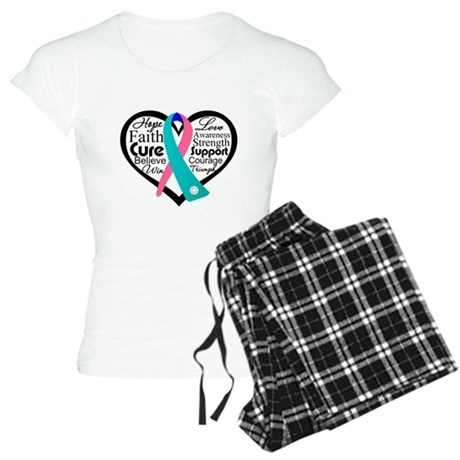 Thyroid Cancer Heart Women's Light Pajamas