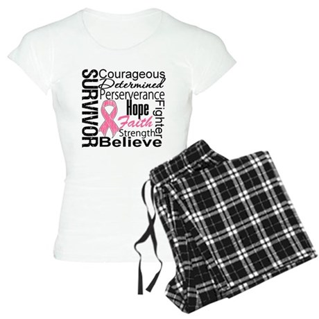 Breast Cancer Collage Women's Light Pajamas