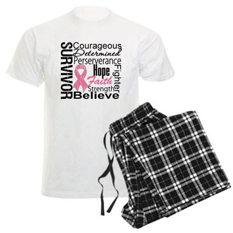 Breast Cancer Collage Men's Light Pajamas
