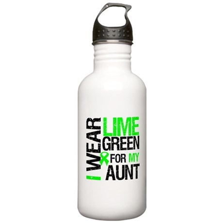 I Wear Lime Green Ribbon Stainless Water Bottle 1.
