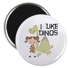 """Girl I Like Dinos 2.25"""" Magnet (10 pack)"""