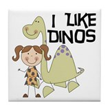 Girl I Like Dinos Tile Coaster