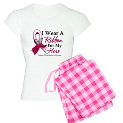 Throat Cancer I Wear Ribbon Women's Light Pajamas