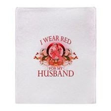 I Wear Red For My Husband (floral) Throw Blanket