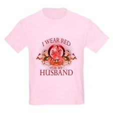 I Wear Red For My Husband (floral) T-Shirt