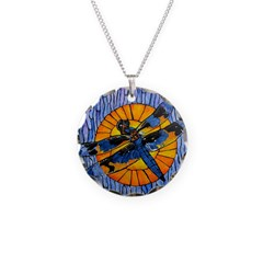 Stained Glass Dragonfly Necklace Circle Charm