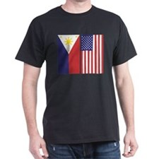 Big Philippine Flag & US Flag T-Shirt