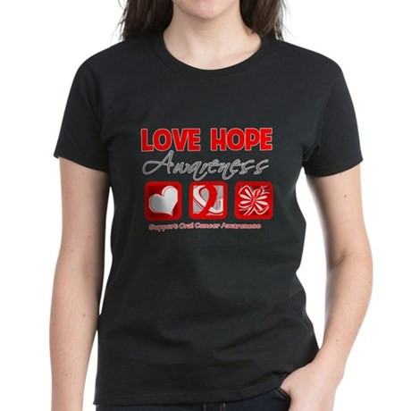 Oral Cancer Love Hope Women's Dark T-Shirt