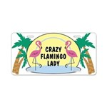 Crazy Flamingo Lady Aluminum License Plate