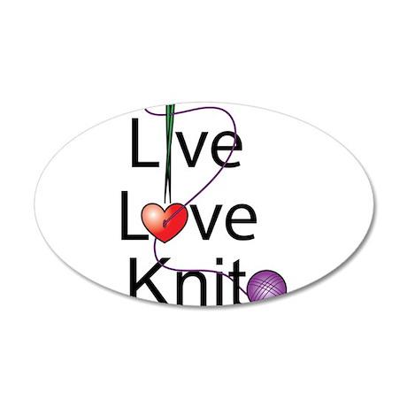 Live Love KNIT 22x14 Oval Wall Peel