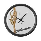 Playing the Saxophone Large Wall Clock